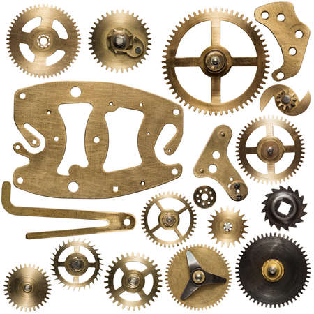 spare time: Clockwork spare parts. Metal gear, cogwheels and other details. Stock Photo