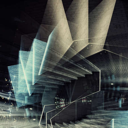 Abstract multiple exposure background. Architectural forms.