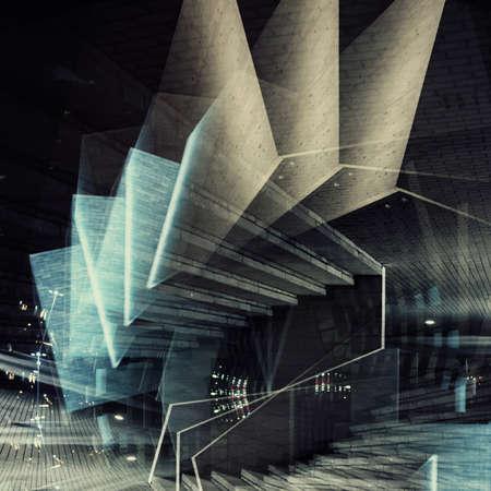 Abstracte meervoudige belichting achtergrond. Architectonische vormen.