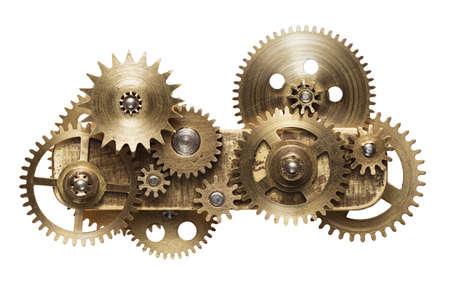 Collage de metal de engranajes mecánicos aislado sobre fondo blanco.
