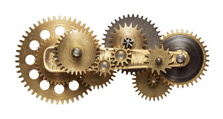 Metal collage van uurwerktoestellen op een witte achtergrond Stockfoto