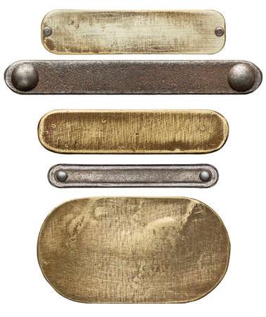 metales: Texturas metálicas diversas, aisladas sobre fondo blanco Foto de archivo