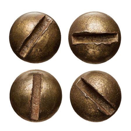 metales: cabezas de los tornillos aislados en blanco.