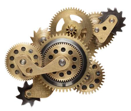 Collage métal de pignons d'horlogerie isolé sur fond blanc