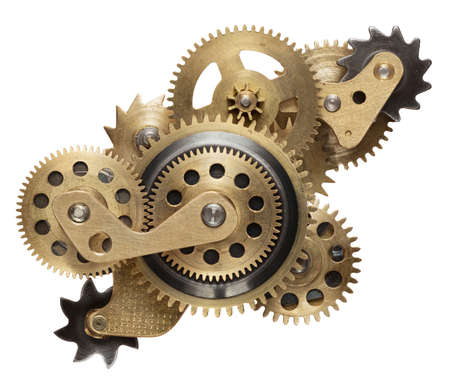 rivet metal: Metal collage of clockwork gears isolated on white background
