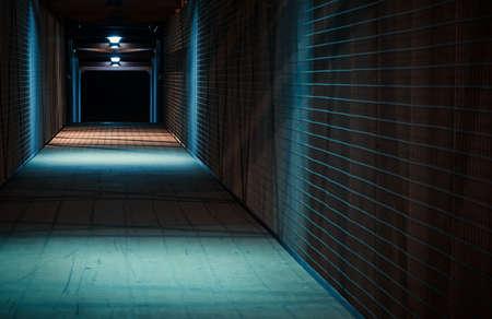 urban scene: Empty urban night scene.  Metal bridge tunnel.