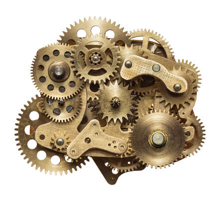 watch: Metal collage of clockwork gears isolated on white background