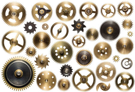 head gear: Clockwork spare parts. Metal gear, cogwheels and other details. Stock Photo