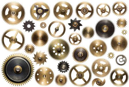 Pièces de rechange d'une horloge. Metal gear, roues dentées et d'autres détails.