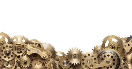 orologi antichi: Collage meccanico di ingranaggi a orologeria su sfondo bianco