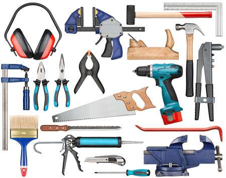 herramientas de carpinteria: Conjunto de varias herramientas de mano aisladas para el trabajo manual.