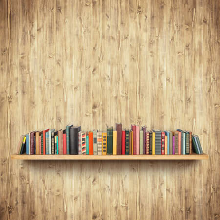 Bookshelf on yellow wooden wall