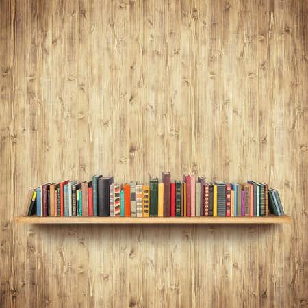 Bookshelf on yellow wooden wall