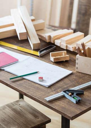 woodwork: Woodwork or design workshop table. Stock Photo