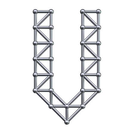 metal structure: Metal structure alphabet letter V. 3D render.