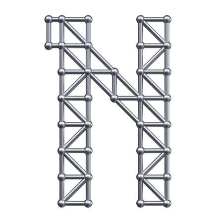 metal structure: Metal structure alphabet letter N. 3D render. Stock Photo