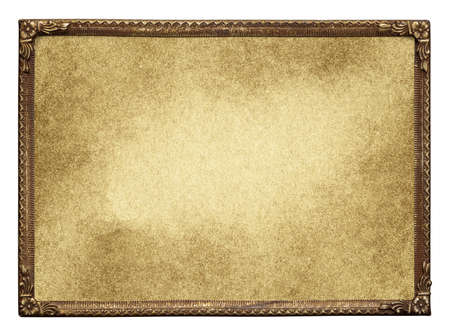 metallic background: Ornate vintage metal photo frame with blank aged paper