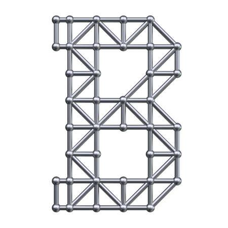 metal structure: Metal structure alphabet letter B. 3D render.