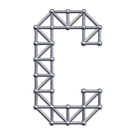 metal structure: Metal structure alphabet letter C. 3D render.