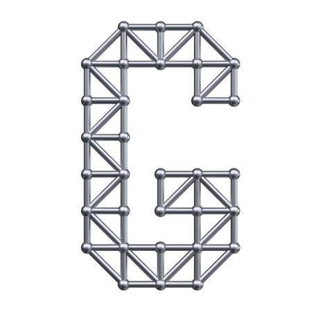 Metall-Struktur Alphabet Buchstaben G. 3D übertragen.