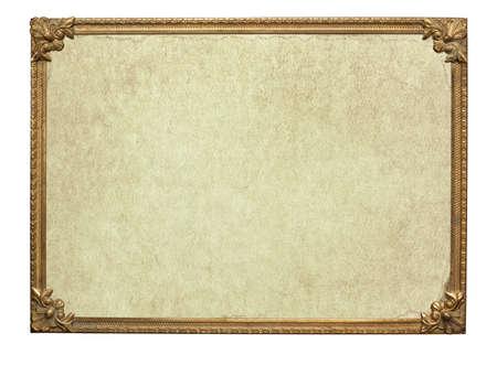 ornate frame: Ornate vintage metal photo frame with blank aged paper