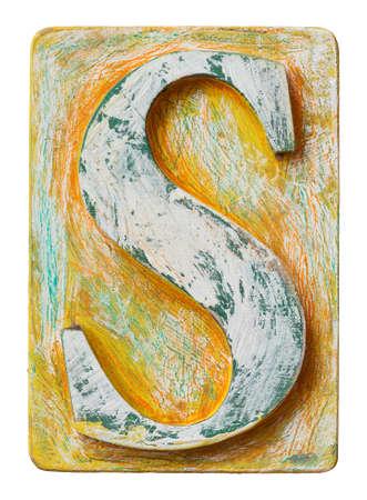 typeset: Wooden alphabet block, letter S