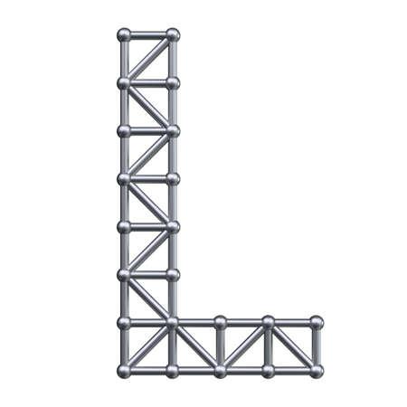 metal structure: Metal structure alphabet letter L. 3D render.