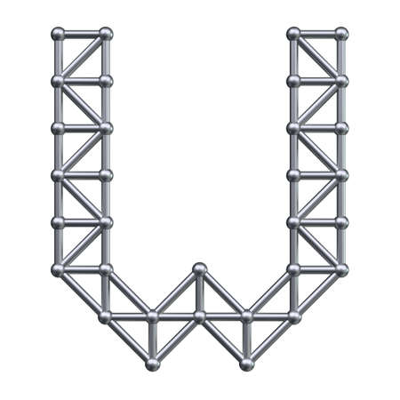 metal structure: Metal structure alphabet letter W. 3D render. Stock Photo