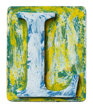 l natural: Wooden alphabet block, letter L