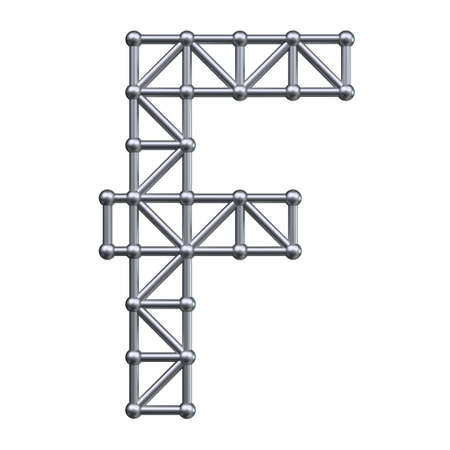 metal structure: Metal structure alphabet letter F. 3D render. Stock Photo