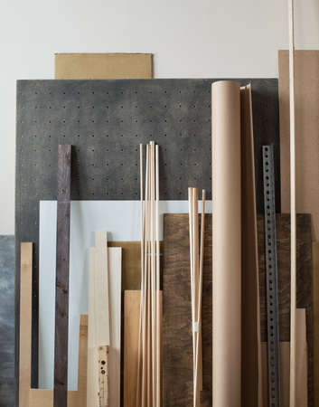 interior designer: Various supplies for woodworking, crafting materials in workshop. Stock Photo