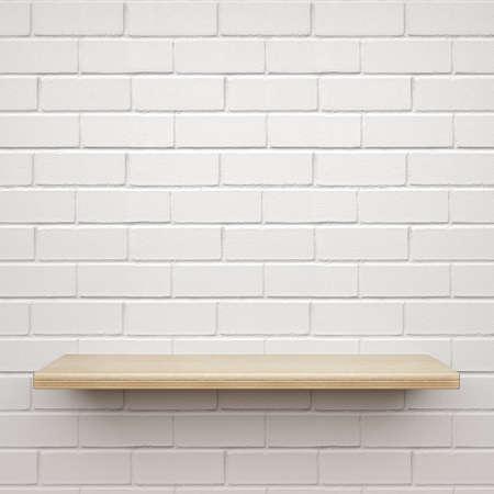 Empty wooden shelf on white brick wall