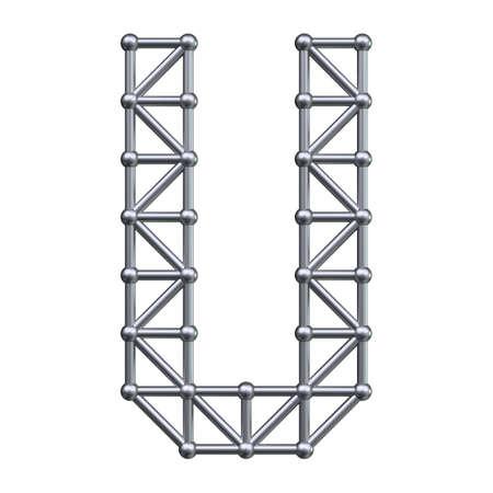 Metall-Struktur Alphabet Buchstaben U. 3D übertragen.
