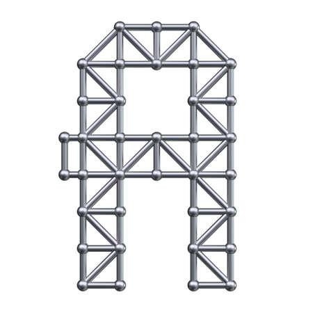 metal structure: Metal structure alphabet letter A. 3D render. Stock Photo