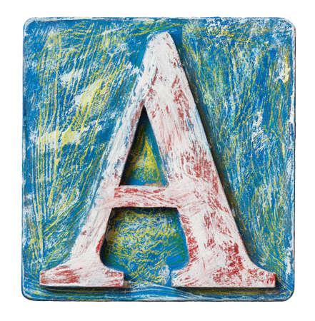 abc blocks: Wooden alphabet block, letter A