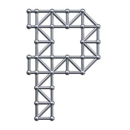 metal structure: Metal structure alphabet letter P. 3D render. Stock Photo