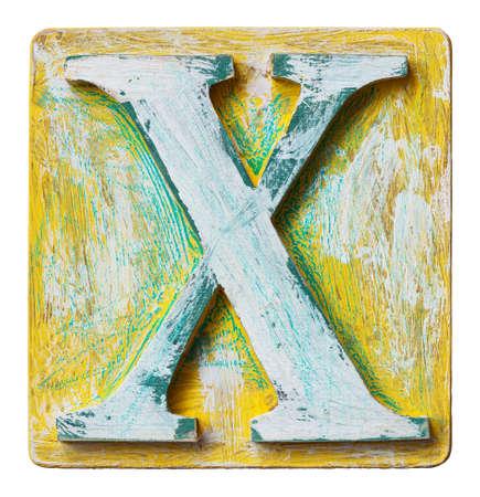 wooden block letter: Wooden alphabet block, letter X Stock Photo