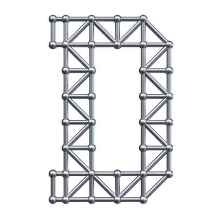 metal structure: Metal structure alphabet letter D. 3D render.