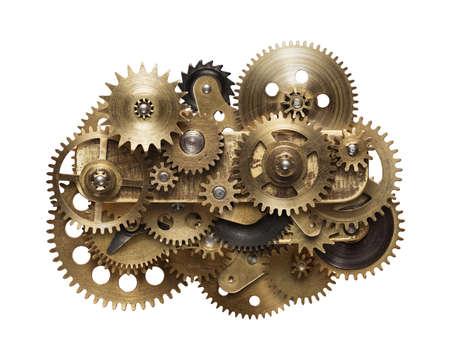 Metallcollage Uhrwerkgänge, isoliert auf weißem Hintergrund Standard-Bild