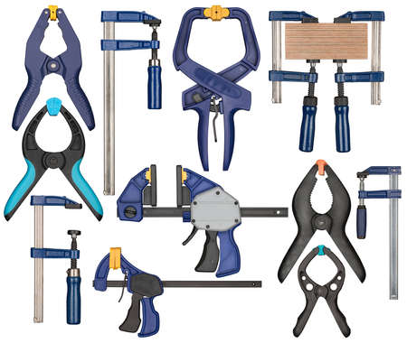 adjusting screw: Various bar clamps. Tools can be used in carpentry, woodworking or other crafts. Stock Photo