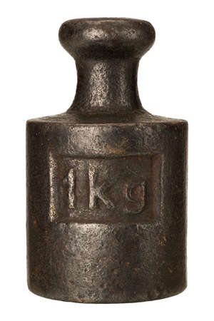 kg: Old rusty iron scale weight isolated on white Stock Photo