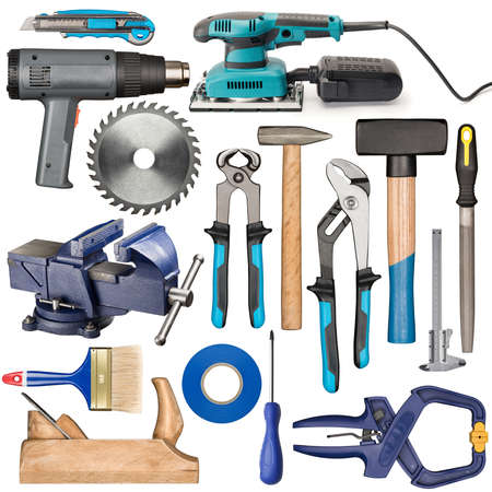 carpenter vise: Set of various isolated hand tools for manual work. Stock Photo
