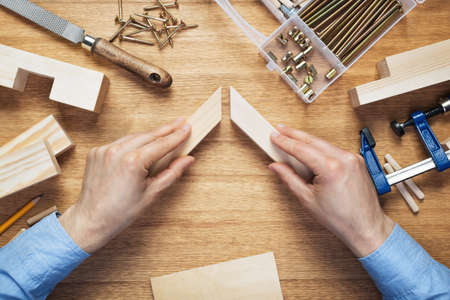 Woodworking workshop table top scene. Making of wooden frame. DIY concept.