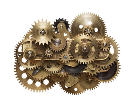 cobre: Metal collage de engranajes del mecanismo aislado en fondo blanco Foto de archivo