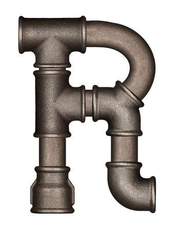 Industriële metalen pijp letter alfabet R