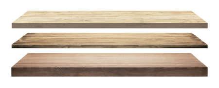 shelf wall: Wooden shelves isolated on white