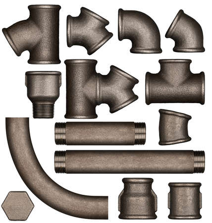 adapted: Various metal plumbing pipes and joints set adapted for mockup design.