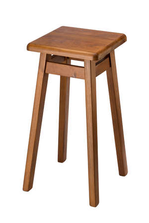bar stool: Wooden bar stool isolated on white background. Stock Photo