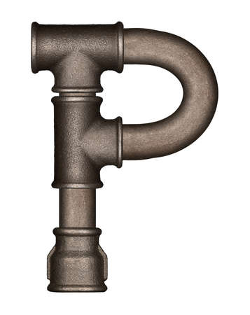 Industrial metal pipe alphabet letter P