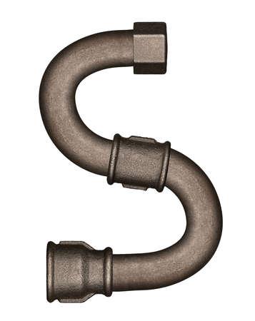 s alphabet: Industrial metal pipe alphabet letter S